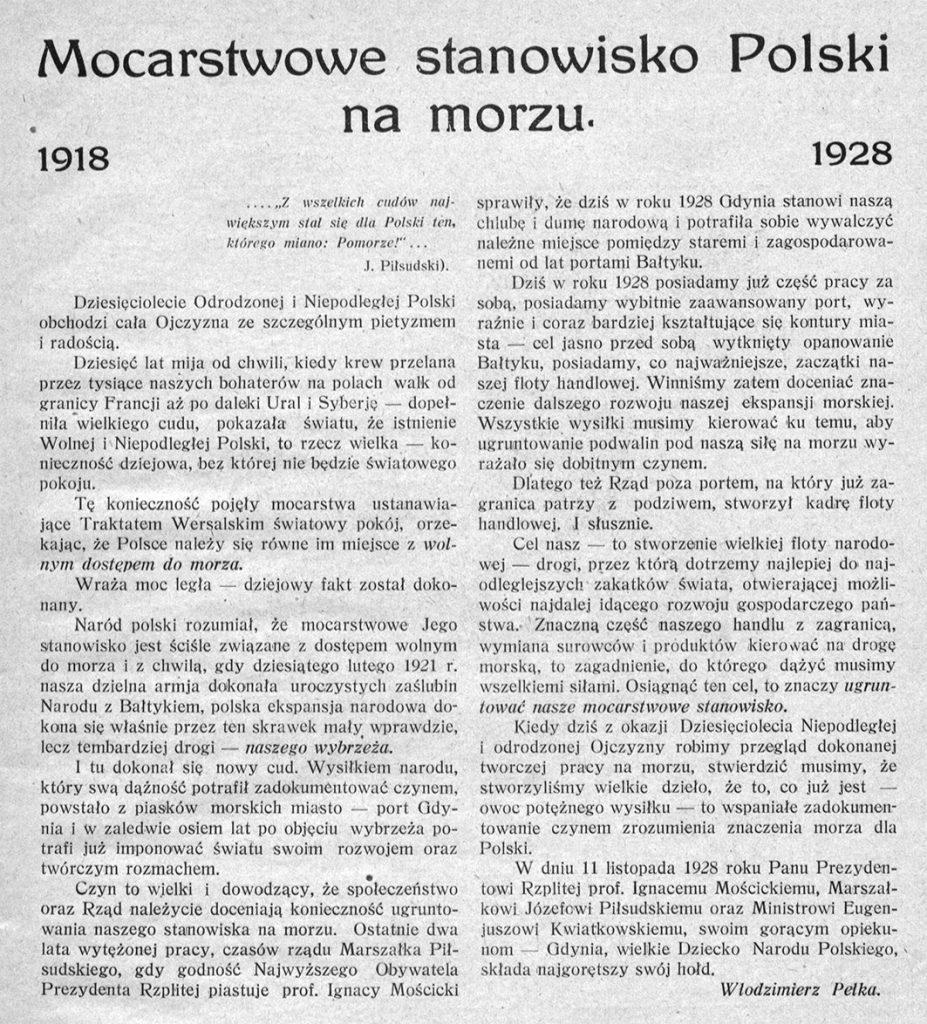 Mocarstwowe stanowisko Polski na morzu