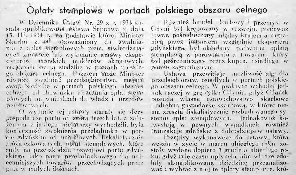 Opłaty stemplowe w portach Polskiego Obszaru Celnego