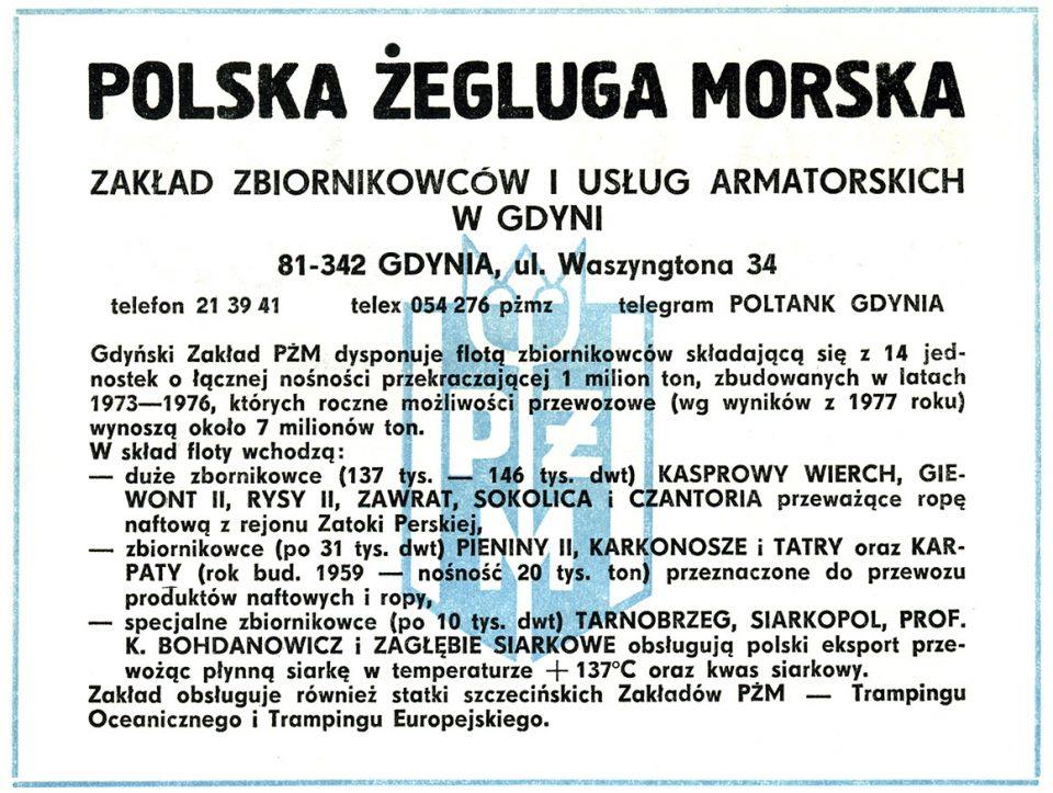 POLSKA ŻEGLUGA MORSKA Zakład Zbiornikowców i Usług Armatorskich w Gdyni