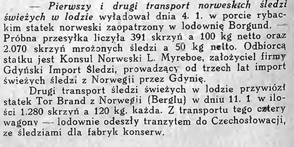 Pierwszy i drugi transport norweskich śledzi
