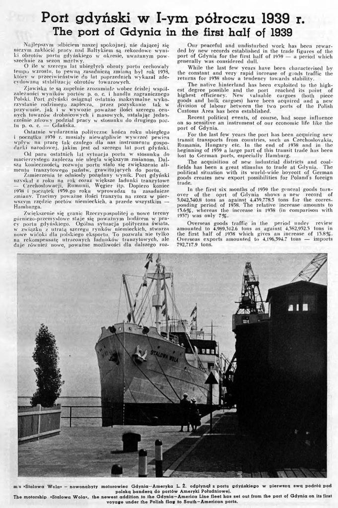 Port gdyński w 1-ym półroczu 1939 r.