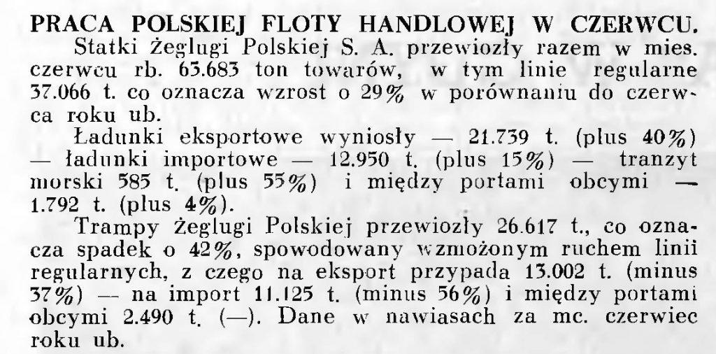 Praca polskiej floty handlowej w czerwcu [1939 r.]