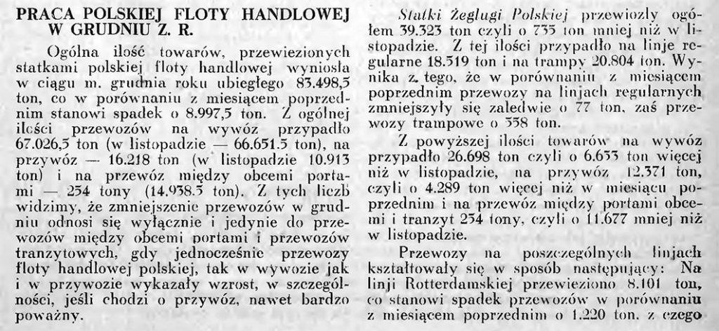 Praca polskiej floty handlowej w grudniu z.[eszłego] r.[oku] [1934 r.]