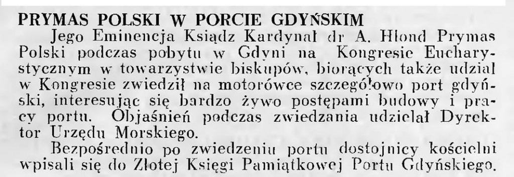 Prymas Polski w porcie gdyńskim