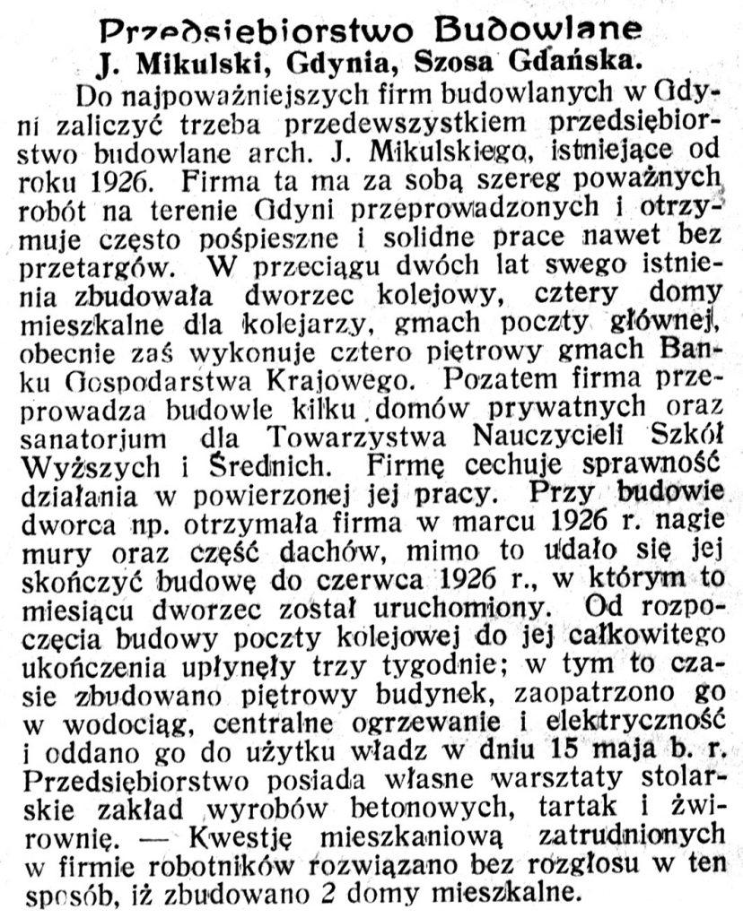 Przedsiębiorstwo Budowlane J. Mikulski, Gdynia, Szosa Gdańska