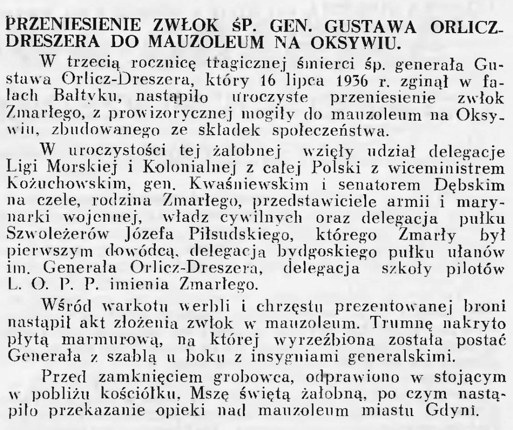 Przeniesienie zwłok śp. gen. Gustawa Orlicz-Dreszera do Mauzoleum na Oksywiu