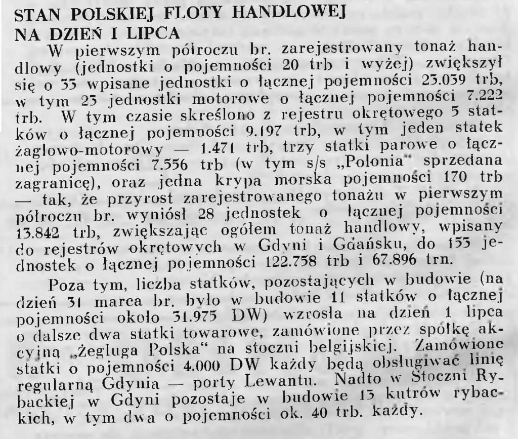 Stan polskiej floty handlowej na dzień 1 lipca