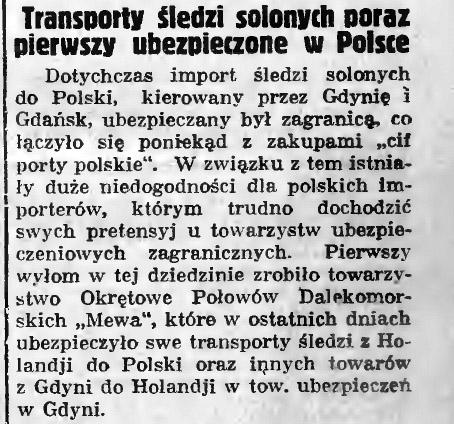 Transporty śledzi solonych poraz pierwszy ubezpieczone w Polsce