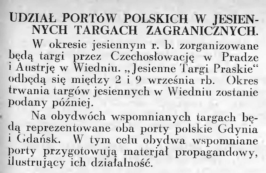Udział portów polskich w jesiennych targach zagranicznych