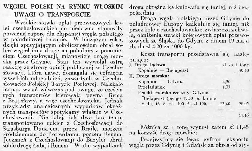 Węgiel polski na rynku włoskim