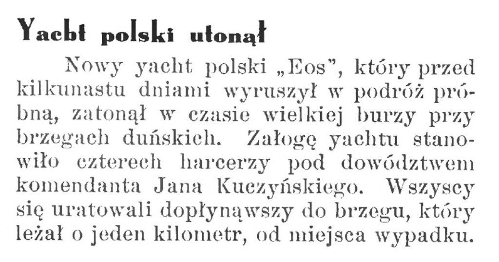 Yacht polski utonął