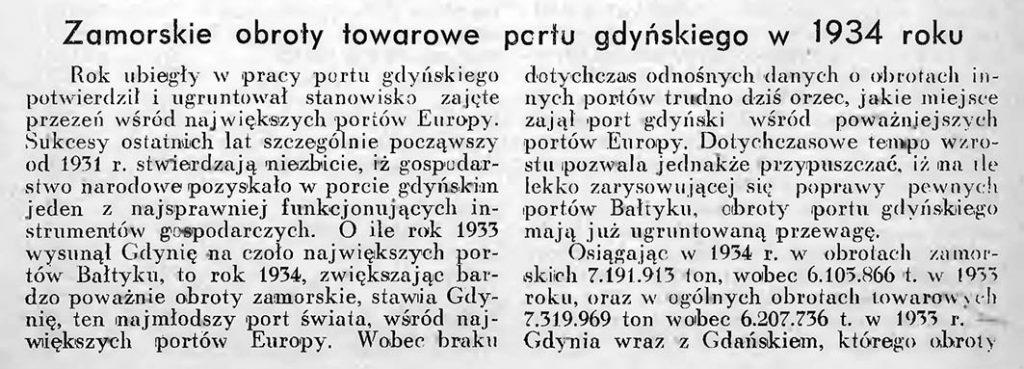 Zamorskie obroty portu gdyńskiego w 1934 roku 1