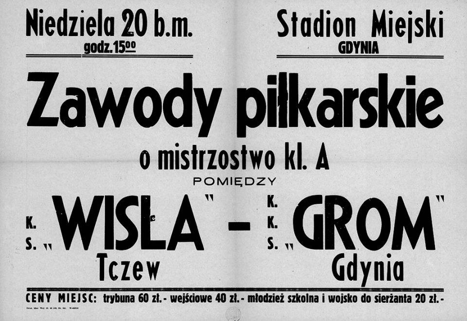 Zawody piłkarskie o mistrzostwo kl. A pomiędzy K.S. WISLA Tczew - K.K.S. GROM Gdynia