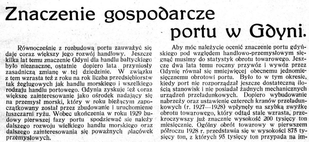 Znaczenie gospodarcze portu w Gdyni
