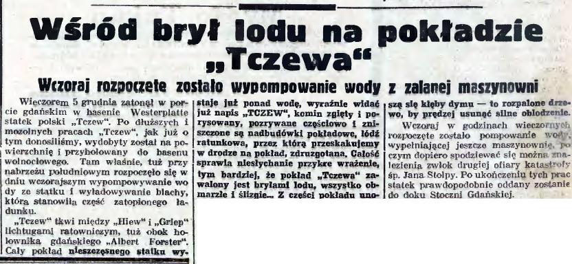 """Wśród brył lodu na pokładzie """"Tczewa"""""""