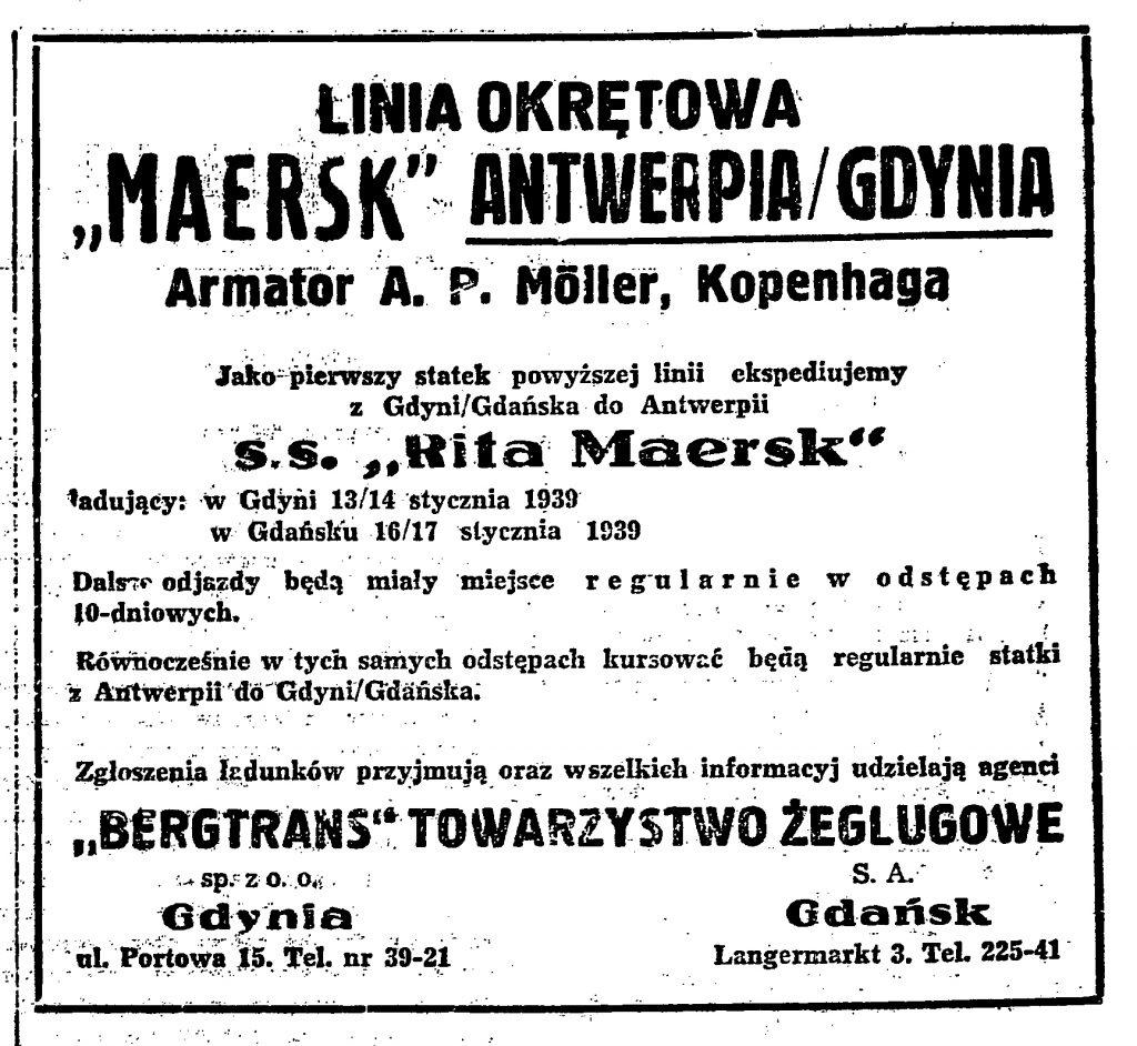 """Linia okrętowa """"Maersk"""" Antwerpia / Gdynia"""