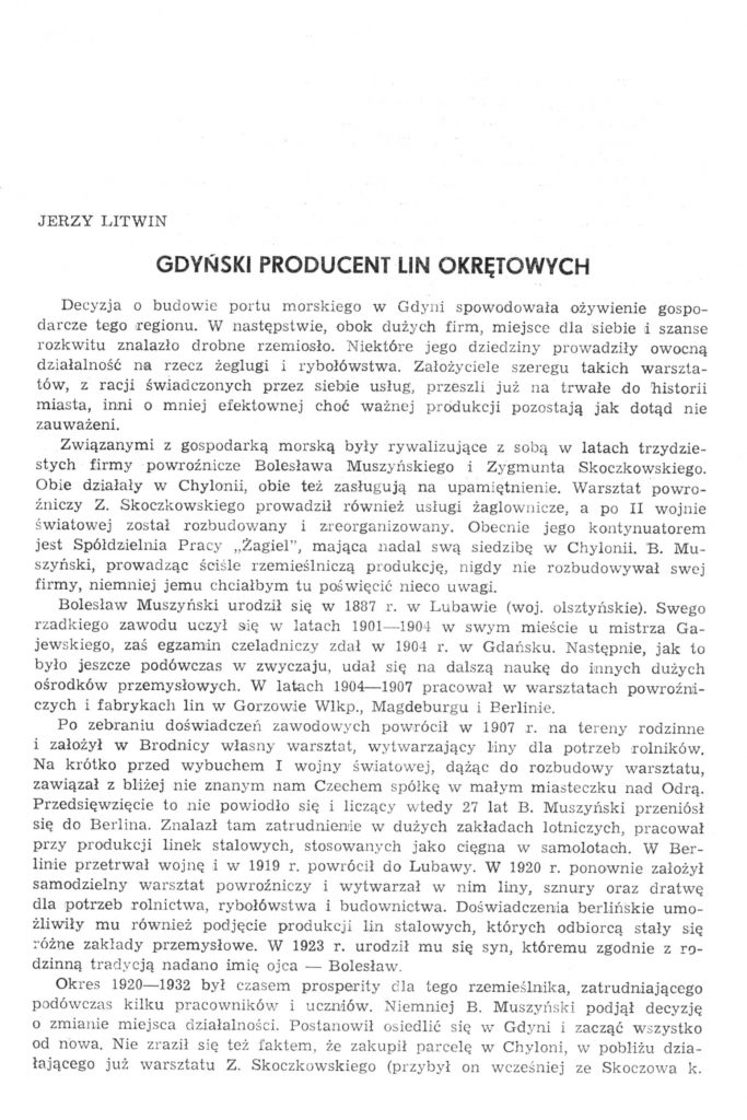 Gdyński producent lin okrętowych