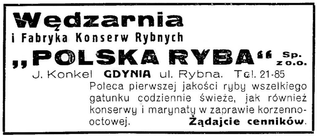"""Wędzarnia i Fabryka Konserw Rybnych """"Polska Ryba"""" J. Konkel"""