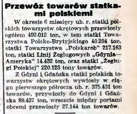 Przewóz towarów statkami polskiemi