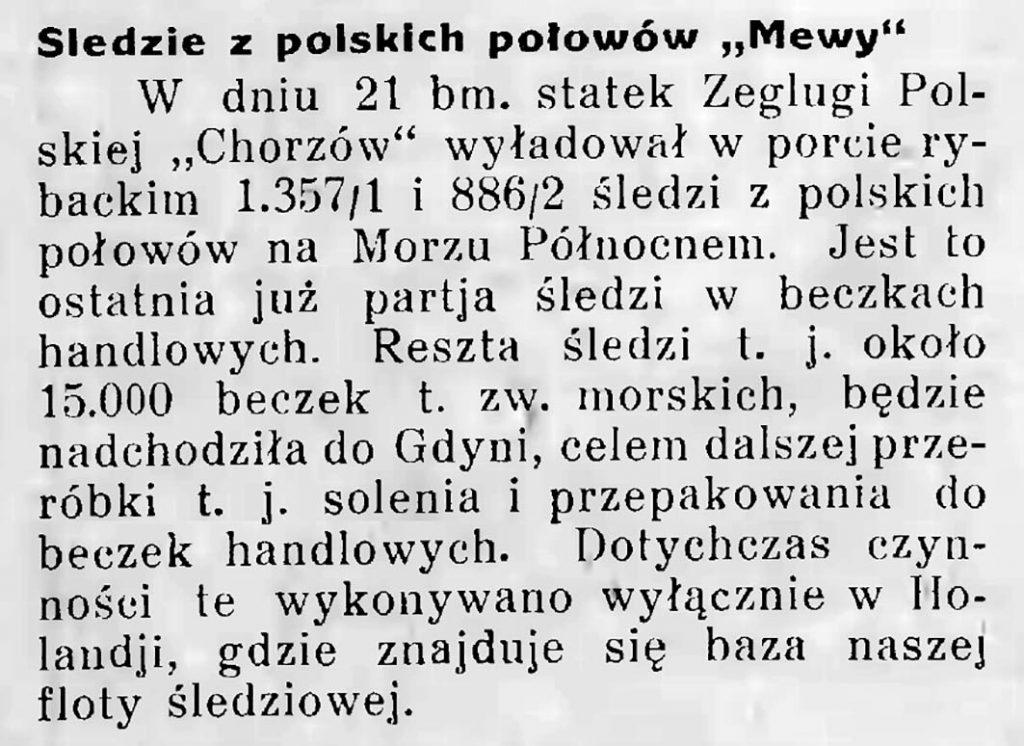 Śledzie z polskich połowów mewy