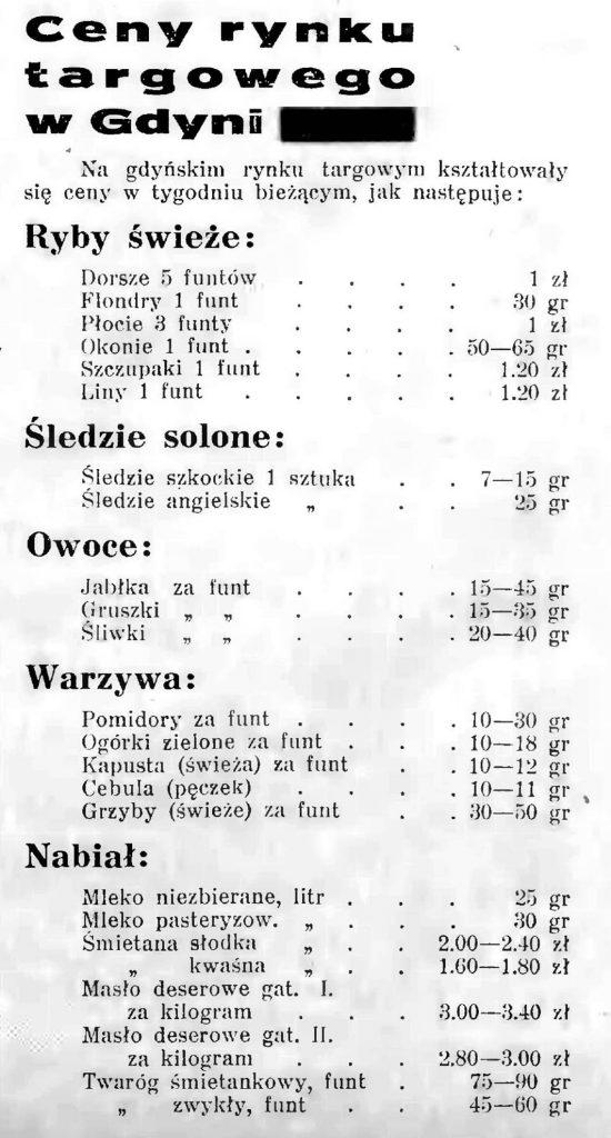Ceny rynku targowego w Gdyni