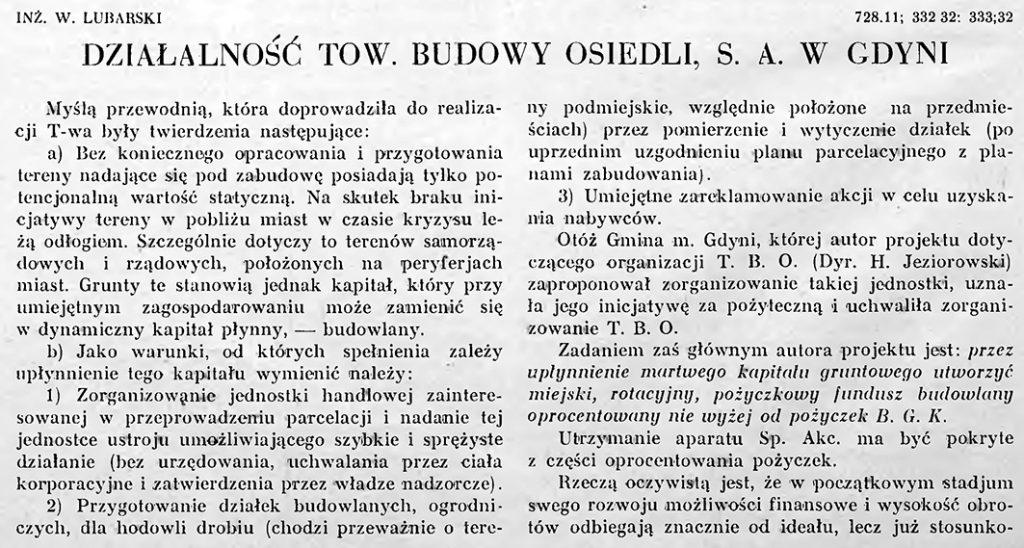 Działalność Tow. Budowy Osiedli S.A. w Gdyni