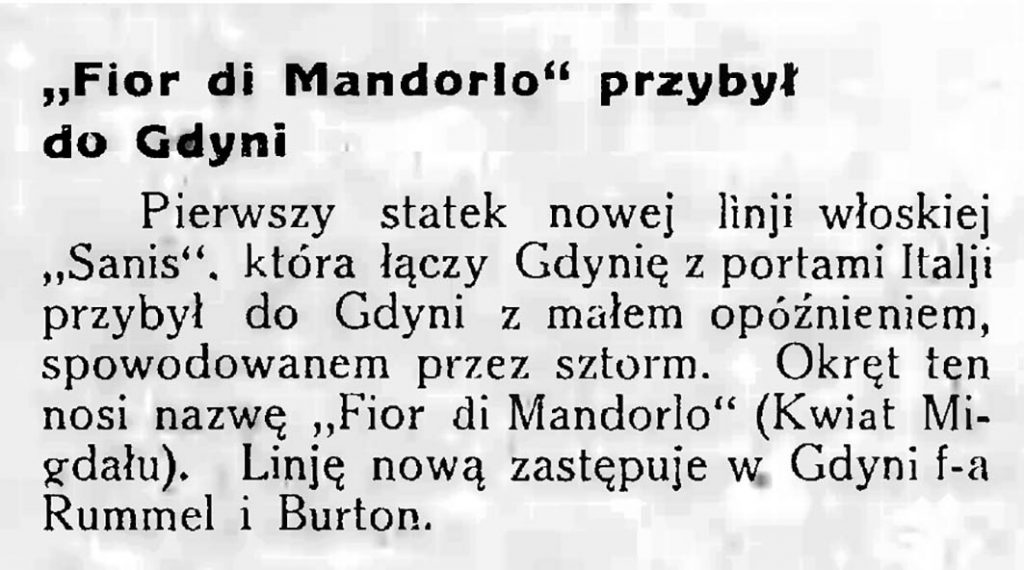 Fior di Mandorlo przybył do Gdyni