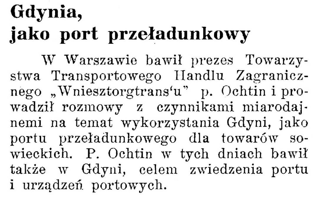 Gdynia, jako popyt przeładunkowy