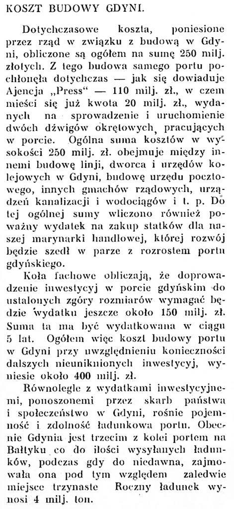 Koszt budowy Gdyni
