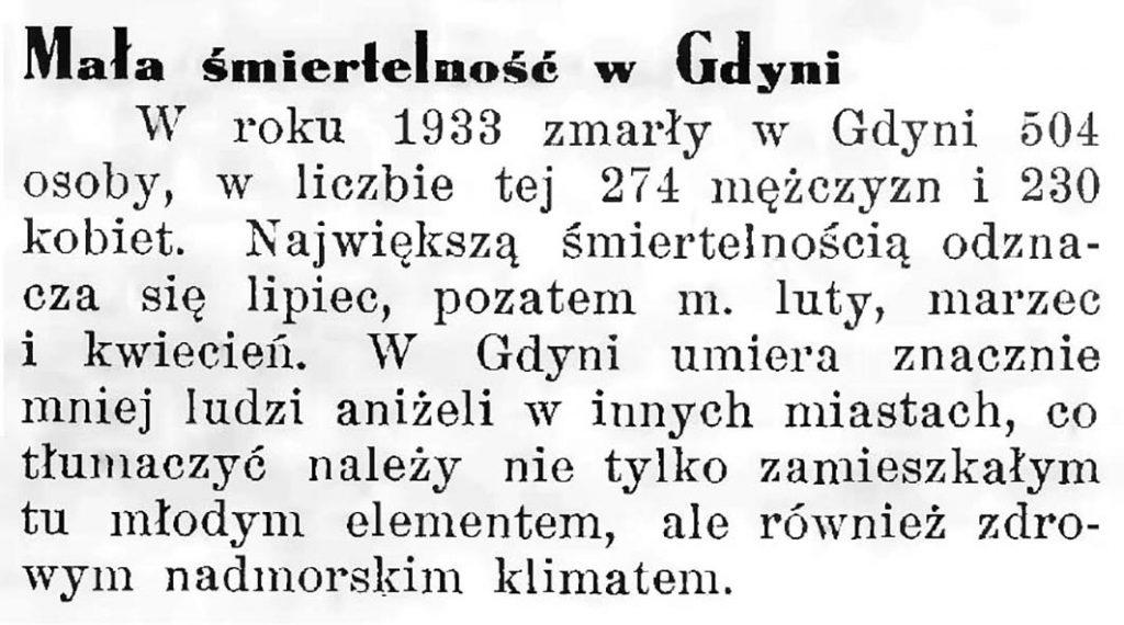 Mała śmiertelność w Gdyni