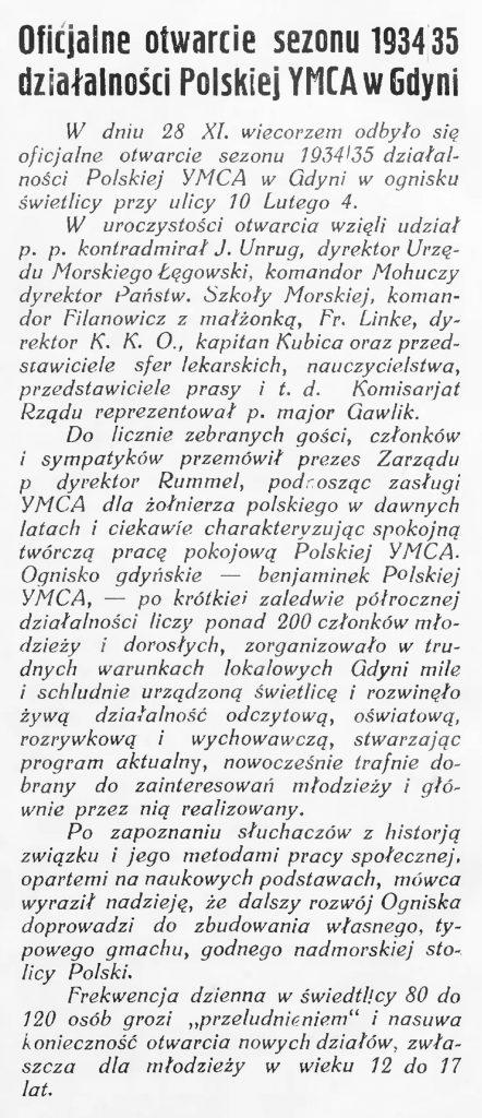 Oficjalne otwarcie sezonu 1934-1935 działalności Polskiej YMCA w Gdyni