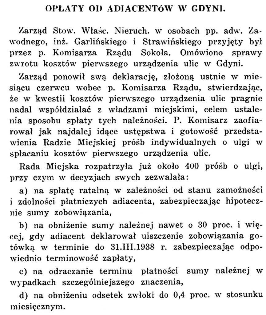 Opłaty od adiacentów w Gdyni