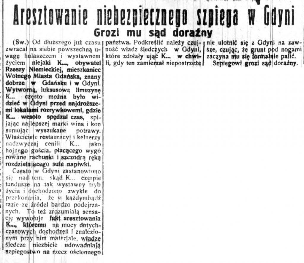 Aresztowanie niebezpiecznego szpiega w Gdyni