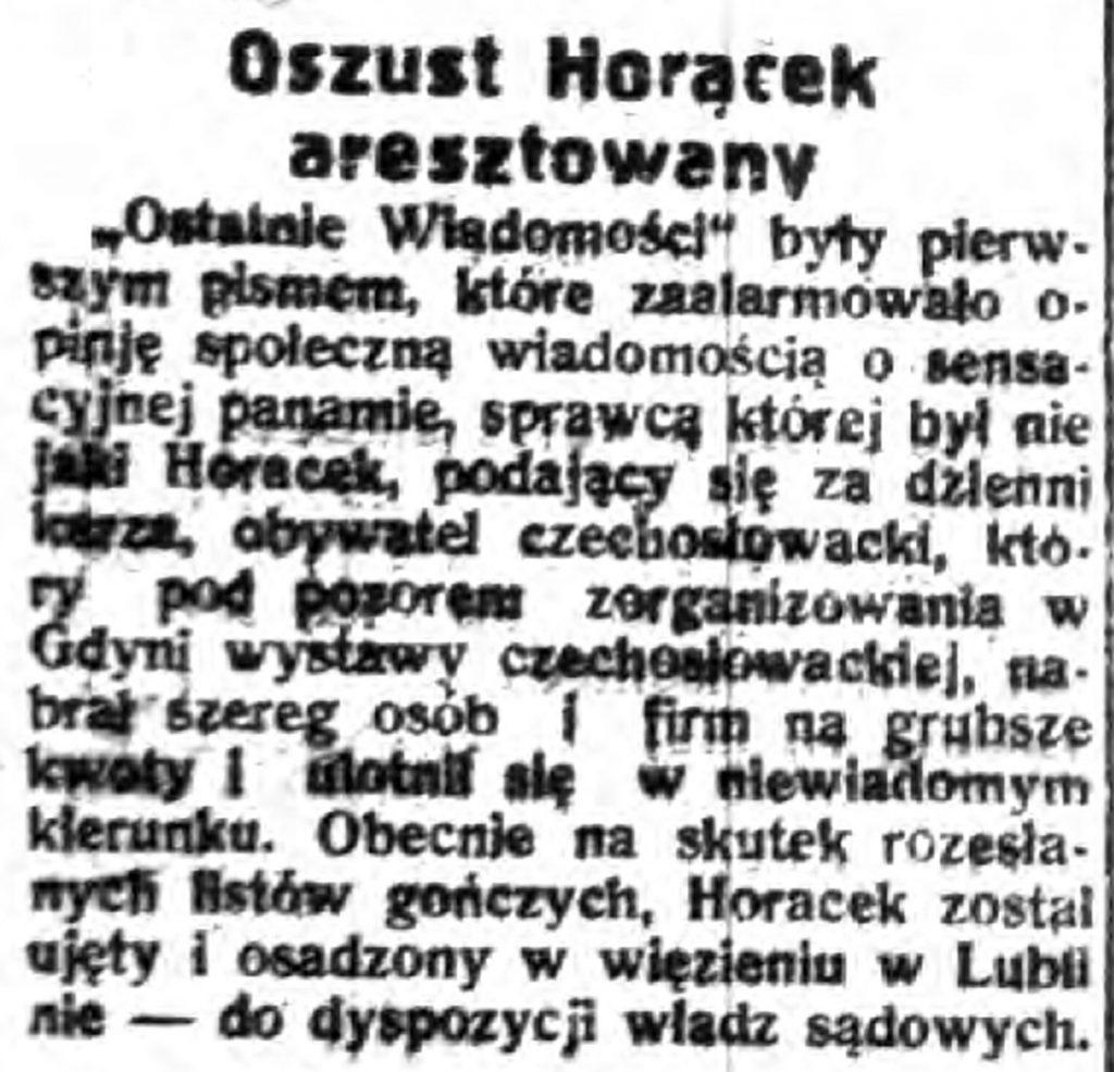 Oszust Horacek aresztowany