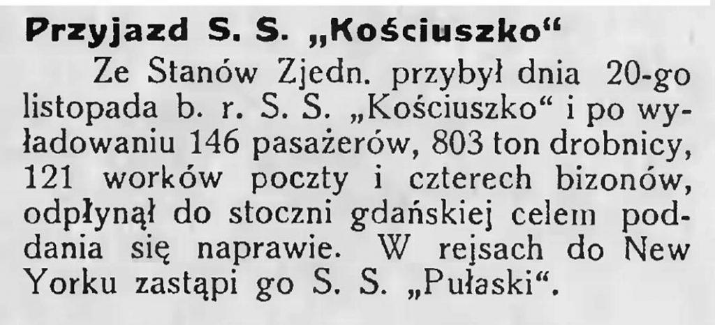 Przyjazd S. S. Kościuszko