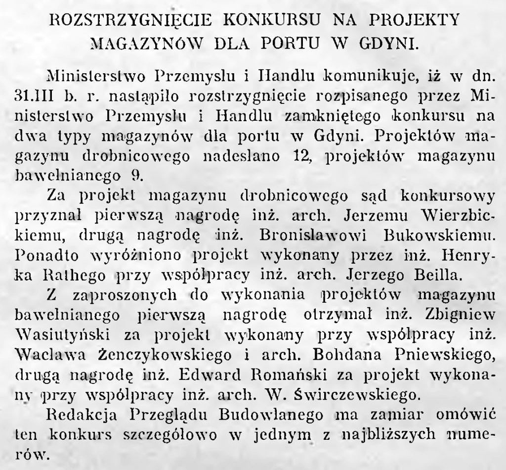 Rozstrzygnięcie konkursu na projekty magazynów dla portu w Gdyni