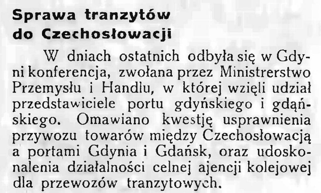 Sprawa tranzytów do Czechosłowacji
