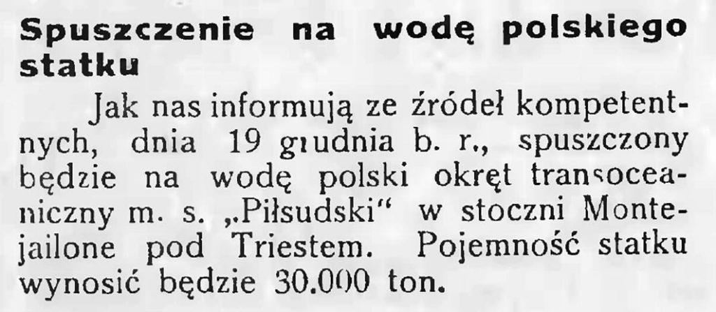 Spuszczenie na wodę polskiego statku