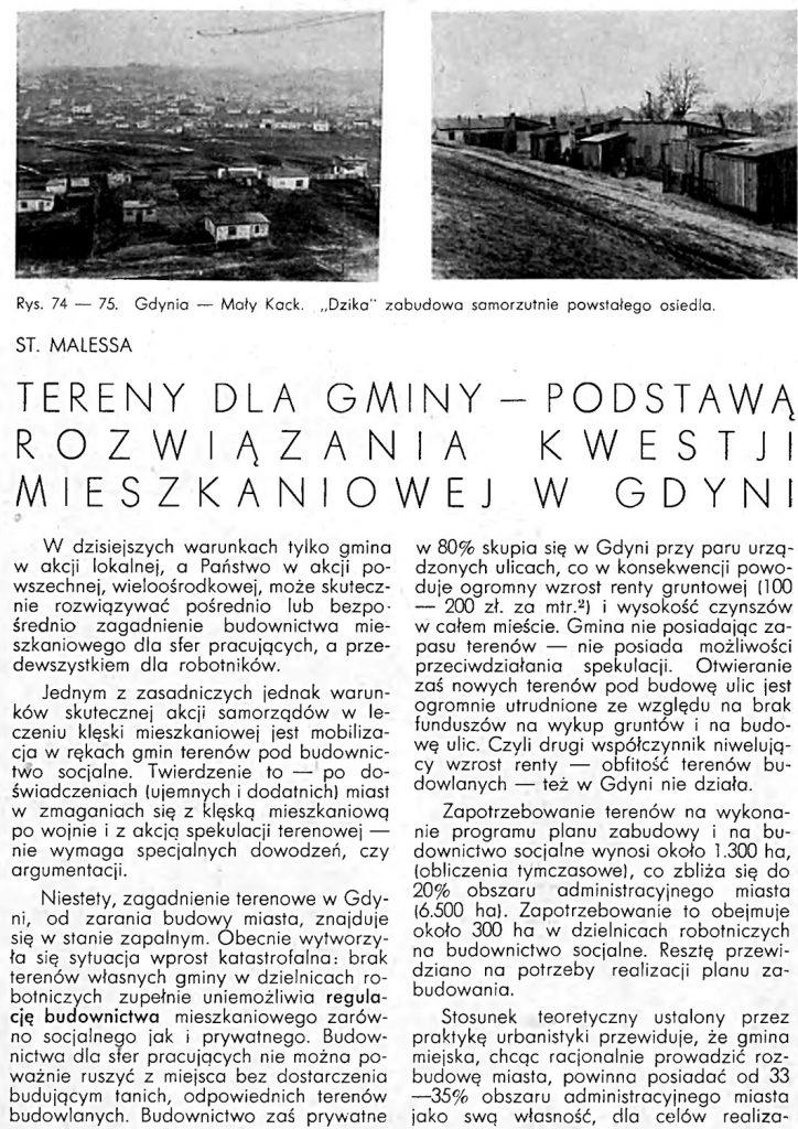 Tereny dla gminy - podstawą rozwiązywania kwestji mieszkaniowej w Gdyni