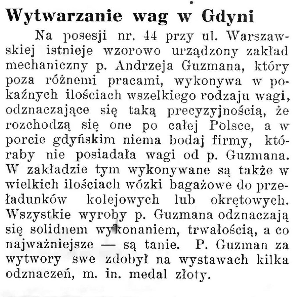 Wytwarzanie wag w Gdyni