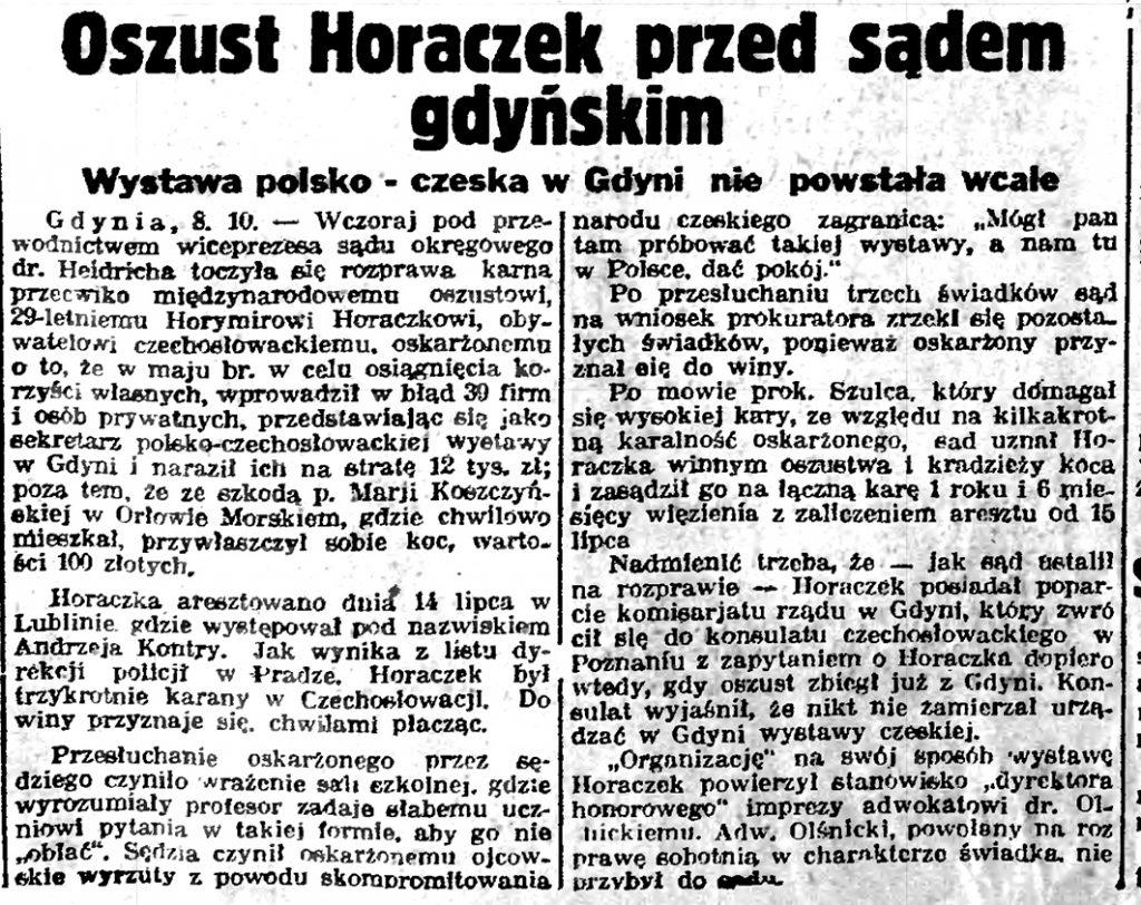 Oszust Horaczek przed sądem gdyńskim