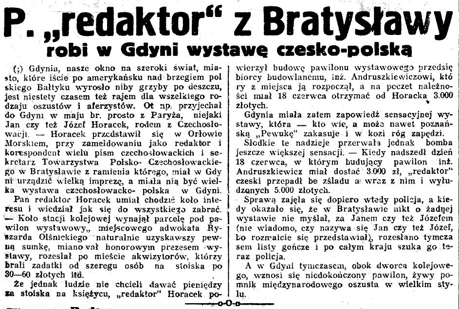 """P. """"redaktor"""" z Bratysławy robi w Gdyni wystawę czesko-polską"""