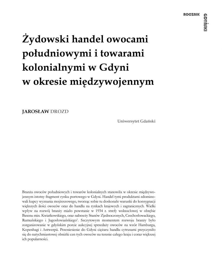 Żydowski handel owocami południowymi i towarami kolonialnymi w Gdyni