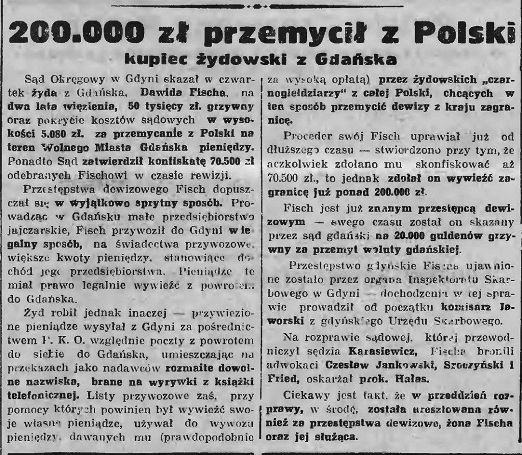 200.000 zł przemycił zA Polski kupiec żydowski z Gdańska