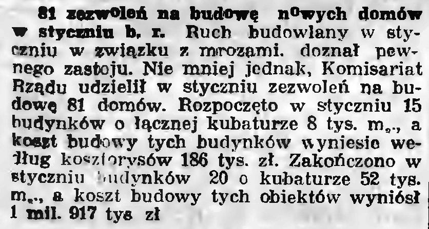 81 zezwoleń na budowę domów w styczniu b.r.