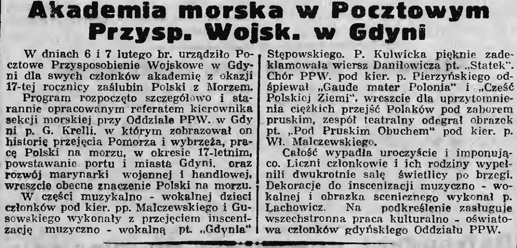 Akademia Morska w Pocztowym Przysposobieniu Wojsk. w Gdyni