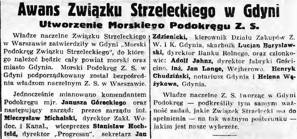 Awans Związku Strzeleckiego w Gdyni. Utworzenie Morskiego Podokręgu Z. S.