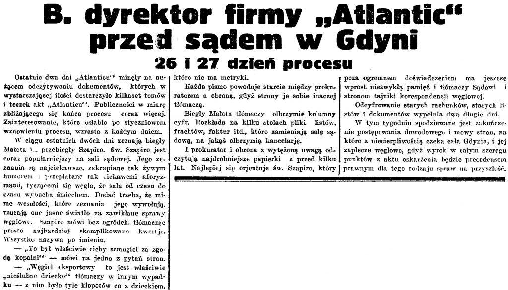 B. dyrektor firmy Atlantic przed sądem w Gdyni 26 i 27 dzień procesu