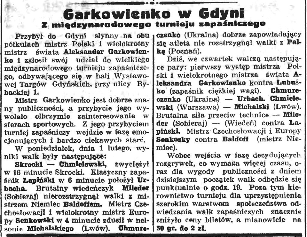 Garkowienko w Gdyni. Z międzynarodowego turnieju zapaśniczego
