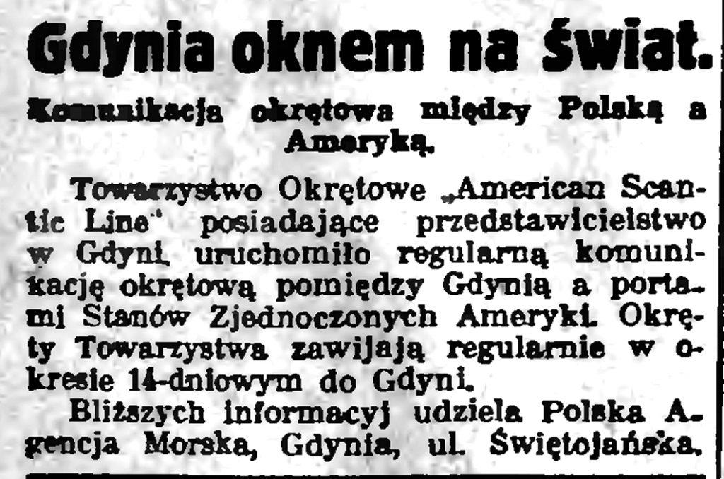 Gdynia oknem na świat. Komunikacja okrętowa między Polska a Ameryką
